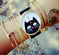 Peeping Black Cat Watch, Vintage Style Leather Watch, Retro Watch, Boyfriend Watch,Women Men'S Watch