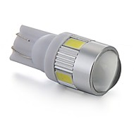2 x T10 0.5W  5630 SMD 6 LED Car License Plate Light Lamp Bulb DC 12V Lens(White/Red/Blue/Yellow)
