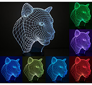 Visual 3D Leopard Head Model Mood Atmosphere LED Decoration USB Table Lamp Colorful Gift Night Light