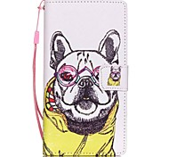 New Glasses Dog Lanyard PU Leather Material Flip Card Cell Phone Case for Huawei P8 Lite