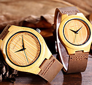 SHHORS® Natural Fashion Simple Men Watch Handmade Watch Ultrathin Original Bamboo Women Genuine Leather Lover's Watch