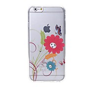 Latest Red Flower Pattern Swarovski Diamond High Quality Laser Relief Touch Phone Case for iPhone 6plus / 6S plus