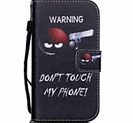 The New Do not Touch My Phone Lanyard PU Leather Material Flip Card Cell Phone Case for Samsung Galaxy G530/G360