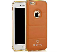 Luxury  Leather Lines Genuine Leather Case for iPhone 6 4.7 Metal TPU Integrated Frame Case for Apple iPhone 6/6S
