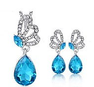 High Quality Crystal Butterfly Pendant Jewelry Set Necklace Earring (Random Plated Color)