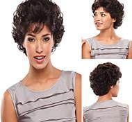 color de moda negro venta pelucas sintéticas pelo rizado corto esponjoso.