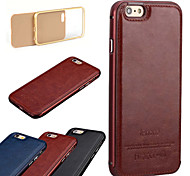 The New Luxury Leather Back and Metal Frame Phone Case for iPhone 6/6S (Assorted Colors)