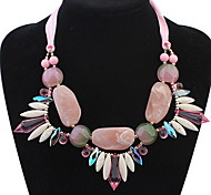 Korean Female Summer Bohemian Crystal Colorful Gem Ribbon Bright Necklace