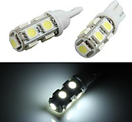 10 * t10 W5W 168 194 coches de la lámpara del bulbo de cuña lado bueno 5050smd blanco 9 LED 12V luz
