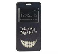 o novo padrão de cartão de aleta sorriso pu material de couro caso de telefone janela para Samsung Galaxy J1 / j1ace / j2 / J5