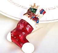 """moda elegante """"medias de Navidad"""" broche de diamantes de imitación de aleación llena de m para la mujer&dama"""