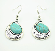 Vintage Look Antique Silver Plated Moon Turquoise Black Stone Drop Dangle Earring(1Pair)