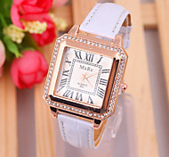 Ladies Watch The European Wind Drill Square Dial PU Ladies Quartz Watch Fashion Ladies Fashion Watch