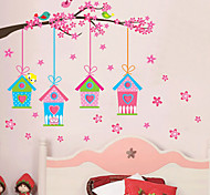 Creative Pink Birdcage Wall Stickers