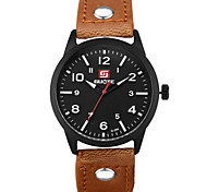 Military Style Men round dial PU strap Quartz Wrist Watch Cool Watch Unique Watch