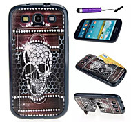 Simple Skull Multifunction Card Holder Leather TPU Material Phone Case for Samsung Galaxy J1/J1ACE /G360 / G530