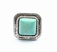 Vintage Look Antique Silver Plated Square Turquoise Stone Adjustable Free Size Ring(1PC)