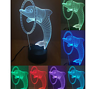 Visual 3D Dolphin Jump Model Mood Atmosphere LED Decoration USB Table Lamp Colorful Gift Night Light
