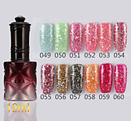1pcs lentejuelas uv esmalte de uñas de gel de color no.49-60 remojo-off (12 ml, colores surtidos)