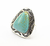 Vintage Look Antique Silver Plated Triangle Turquoise Stone Adjustable Free Size Ring(1PC)