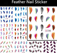 12pcs Feather Nail Sticker