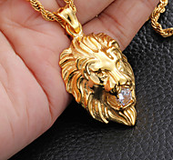 Fashion Lion Head Crystal in Mouth 316L Stainless Steel Pendant Necklace