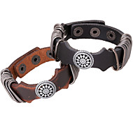 Fashion Stainless Steel Wire Wrap Compass Sailo Leather Bracelets