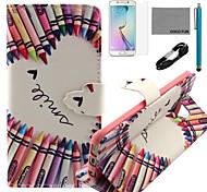 estojo de couro padrão de coco coração fun® crayon pu com cabo usb v8, flim, caneta e stand para Samsung Galaxy S6 borda