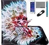 Funda de piel de coco patrón de diente de león Fun® PU con usb v8 cable, flim y lápiz para Samsung G360 primer núcleo de la galaxia