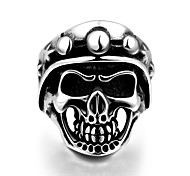 Fashion Individual No Decorative Stone Men's Stoving Varnish skull with Hat Stainless Steel Ring(Black)(1Pc)