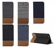 flip luxe étui en cuir de toile avec support de fente de carte de portefeuille pour l'iphone 6 plus / 6s, plus
