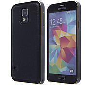 Geniune Leather Back Cover Aluminum Bumper Frame for Samsung Galaxy S5 i9600 (Assorted Colors)