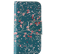 The New Red Plum PU Leather Material Flip Card Cell Phone Case for iPhone 5 /5S