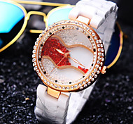 Women's Luxury Quicksand Ball Diamond Round Dial Ceramic Strap Fashion Quartz Watch (Assorted Colors)