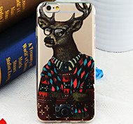 Fashion Looking Mr. Deer Pattern TPU Soft Back Cover for iPhone 6/6S