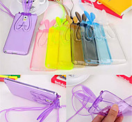 Fashion Cute Transparent Silicone Rabbit Ears Lanyard Back Stand Case Cover For Samsung Galaxy Note3/4/5
