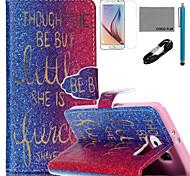 Coco fun® padrão dourado palavras estojo de couro pu com cabo usb v8, flim, caneta e stand para Samsung Galaxy S6 borda