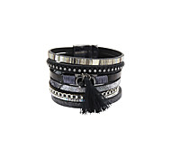 Fashion Women Vintage Decorated Magnet Buckle Leather Bracelet