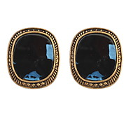 European And American Retro Leopard  Exaggerated Fashion Sapphire-jewelry Earrings