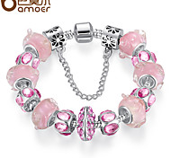 Romantic cherry blossom pink pearl crystal DIY925 silver bracelet