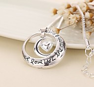 New Arrival Heart Moon Love Alloy Pendant Necklace