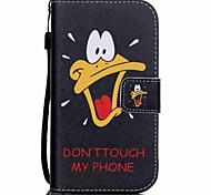 The New Mouth Duck Lanyard PU Leather Material Flip Card Cell Phone Case for Samsung Galaxy G530/G360