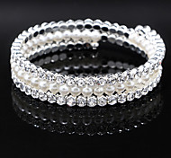 Fashion Pearl Crystal Diamond Bracelet Bangle for Party Women