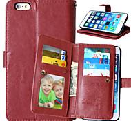 pu Funda de cuero Flip cubierta 9 titulares de la tarjeta monedero de lujo para el iphone 6 más / 6s más (colores surtidos)