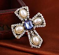 broche clásico vintage cruz perla elegante llena rhinestone de la aleación de m para la mujer&dama