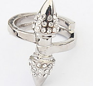 Punk Tapered Stainless Steel Diamond Ring