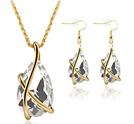May Polly  Fashion Crystal Pendant Necklace Earrings Set
