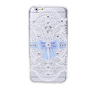 Latest Bow Pattern Swarovski Diamond High Quality Laser Relief Touch Phone Case for iPhone 6plus / 6S plus