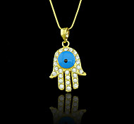 18K Real Golden Plated Hamsa Hand Of Fatima Evil Eye Crystal Hollow Out Pendant Necklace