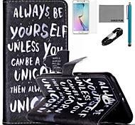 Coco fun® ser você mesmo padrão de capa de couro pu com cabo usb v8, flim, caneta e stand para Samsung Galaxy S6 borda
